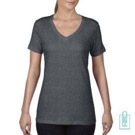 T-Shirt Dames V-Hals Goedkoop bedrukken grijs, v-hals bedrukt, bedrukte v-hals met logo