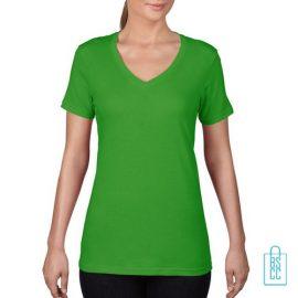 T-Shirt Dames V-Hals Goedkoop bedrukken groen, v-hals bedrukt, bedrukte v-hals met logo