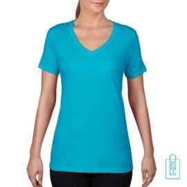 T-Shirt Dames V-Hals Goedkoop bedrukken lichtblauw, v-hals bedrukt, bedrukte v-hals met logo