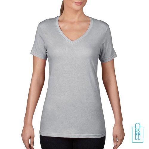 T-Shirt Dames V-Hals Goedkoop bedrukken lichtgrijs, v-hals bedrukt, bedrukte v-hals met logo