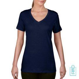 T-Shirt Dames V-Hals Goedkoop bedrukken navy, v-hals bedrukt, bedrukte v-hals met logo