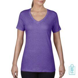 T-Shirt Dames V-Hals Goedkoop bedrukken paars, v-hals bedrukt, bedrukte v-hals met logo
