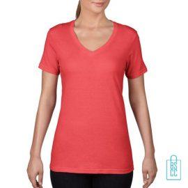 T-Shirt Dames V-Hals Goedkoop bedrukken rood, v-hals bedrukt, bedrukte v-hals met logo
