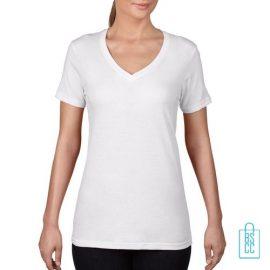 T-Shirt Dames V-Hals Goedkoop bedrukken wit, v-hals bedrukt, bedrukte v-hals met logo
