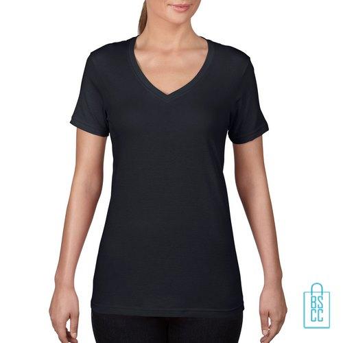 T-Shirt Dames V-Hals Goedkoop bedrukken zwart, v-hals bedrukt, bedrukte v-hals met logo