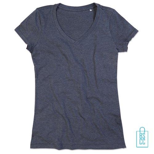 T-Shirt Dames V-Hals Poly Katoen bedrukken grijs, v-hals bedrukt, bedrukte v-hals met logo