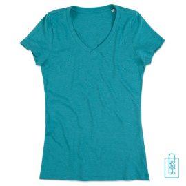 T-Shirt Dames V-Hals Poly Katoen bedrukken groen, v-hals bedrukt, bedrukte v-hals met logo