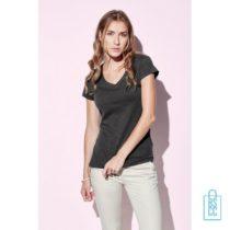 T-Shirt Dames V-Hals Poly Katoen bedrukken met logo, v-hals bedrukt, bedrukte v-hals met logo