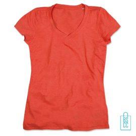 T-Shirt Dames V-Hals Poly Katoen bedrukken oranje, v-hals bedrukt, bedrukte v-hals met logo