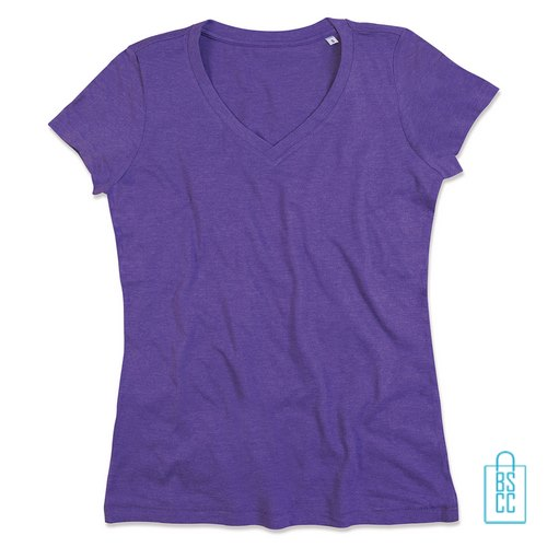 T-Shirt Dames V-Hals Poly Katoen bedrukken paars, v-hals bedrukt, bedrukte v-hals met logo