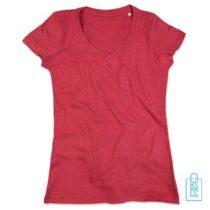T-Shirt Dames V-Hals Poly Katoen bedrukken rood, v-hals bedrukt, bedrukte v-hals met logo