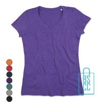 T-Shirt Dames V-Hals Poly Katoen bedrukken, v-hals bedrukt, bedrukte v-hals met logo