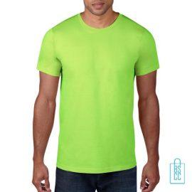 T-Shirt Heren Rond bedrukken Neongroen