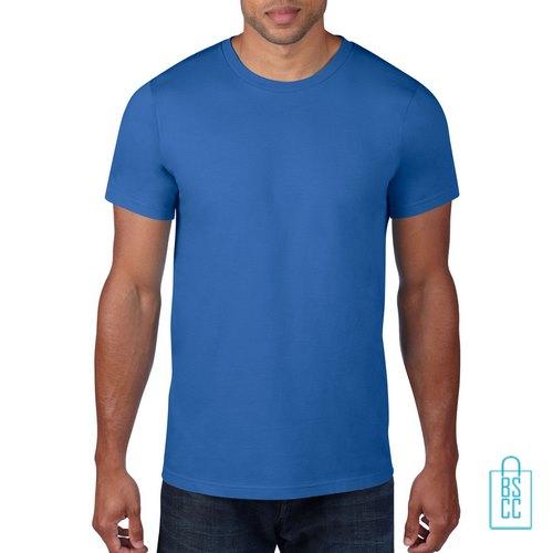T-Shirt Heren Rond bedrukken blauw