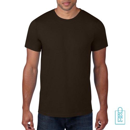 T-Shirt Heren Rond bedrukken bruin
