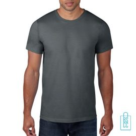 T-Shirt Heren Rond bedrukken donkergrijs