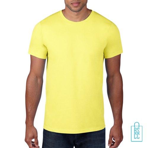 T-Shirt Heren Rond bedrukken geel