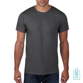 T-Shirt Heren Rond bedrukken grijs