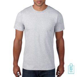 T-Shirt Heren Rond bedrukken lichtgrijs