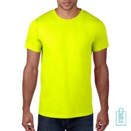 T-Shirt Heren Rond bedrukken neongeel