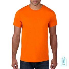 T-Shirt Heren Rond bedrukken neonoranje