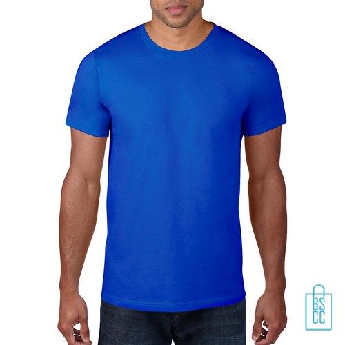 T-Shirt Heren Rond bedrukken oceaanblauw