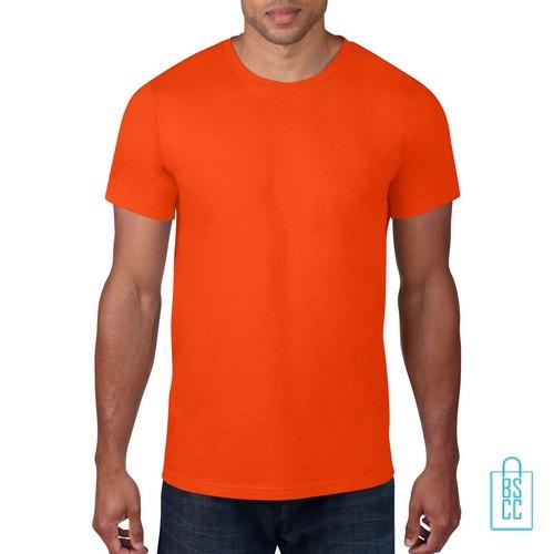 T-Shirt Heren Rond bedrukken oranje