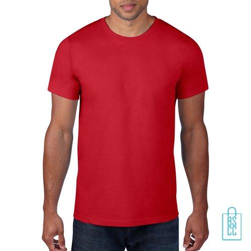 T-Shirt Heren Rond bedrukken rood