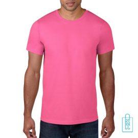 T-Shirt Heren Rond bedrukken roze