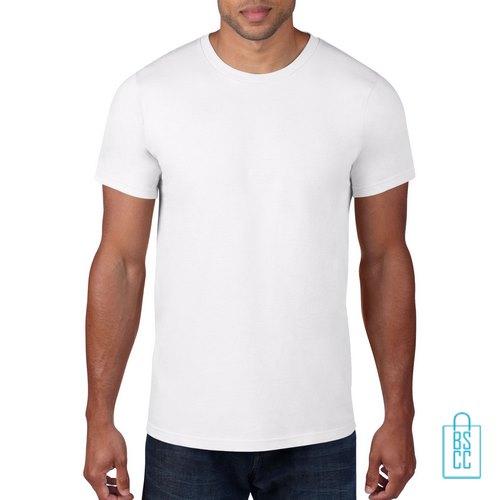 T-Shirt Heren Rond bedrukken wit
