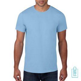 T-Shirt Heren Rond bedrukken zachtblauw
