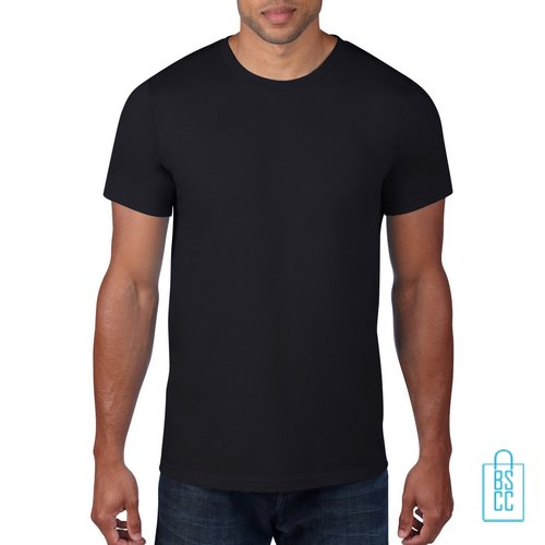 T-Shirt Heren Rond bedrukken zwart