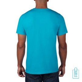 T-Shirt Heren Rond bedrukt aqua