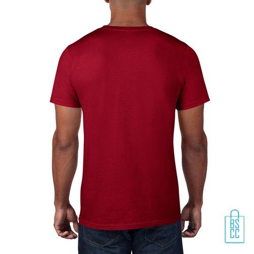 T-Shirt Heren Rond bedrukt bordeaux