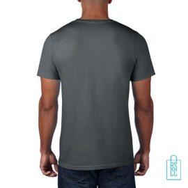 T-Shirt Heren Rond bedrukt donkergrijs