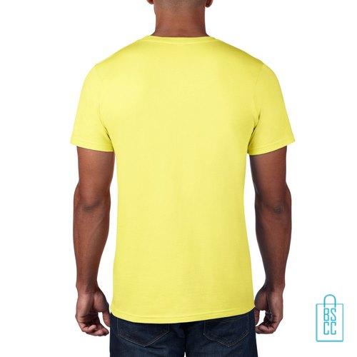 T-Shirt Heren Rond bedrukt geel