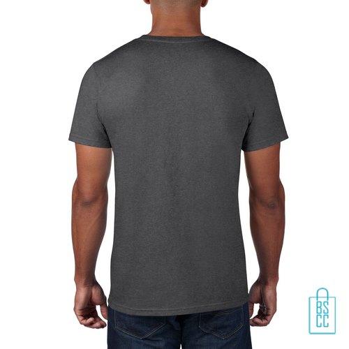 T-Shirt Heren Rond bedrukt grijs