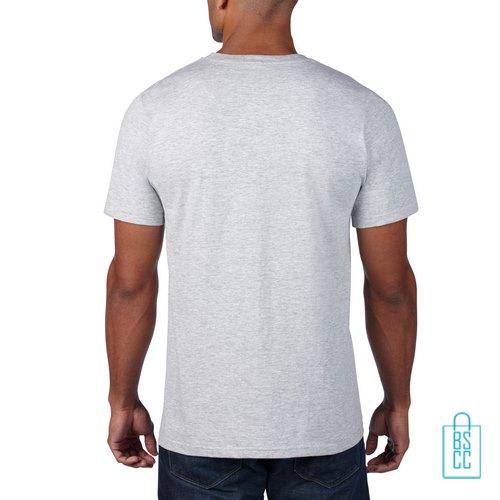 T-Shirt Heren Rond bedrukt lichtgrijs