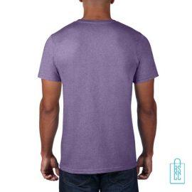 T-Shirt Heren Rond bedrukt lichtpaars