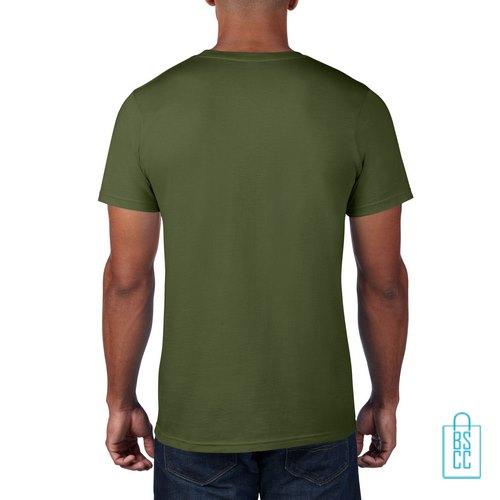 T-Shirt Heren Rond bedrukt militairgroen