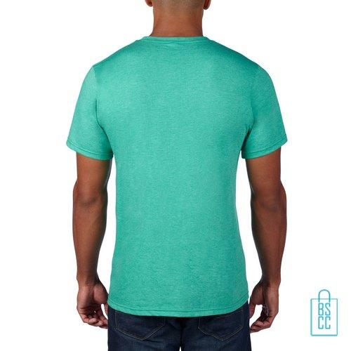 T-Shirt Heren Rond bedrukt mintgroen
