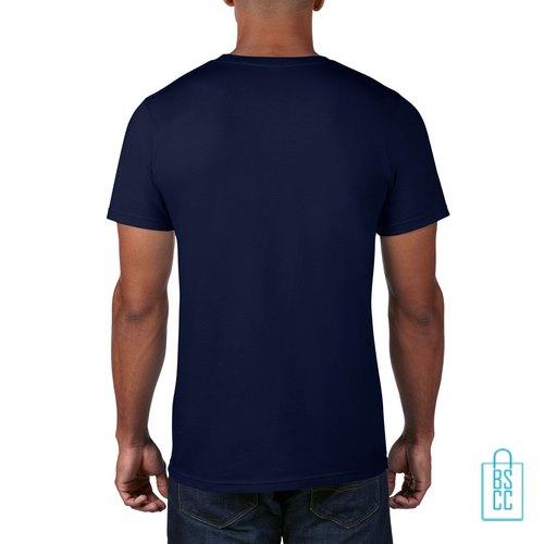 T-Shirt Heren Rond bedrukt navy