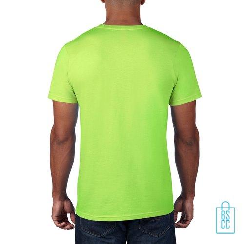 T-Shirt Heren Rond bedrukt neonGroen