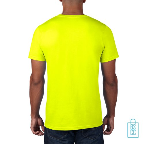 T-Shirt Heren Rond bedrukt neongeel