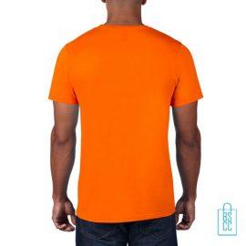 T-Shirt Heren Rond bedrukt neonoranje