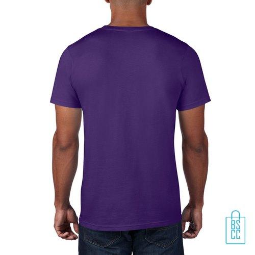 T-Shirt Heren Rond bedrukt paars