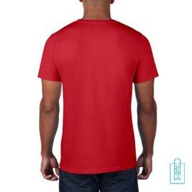 T-Shirt Heren Rond bedrukt rood