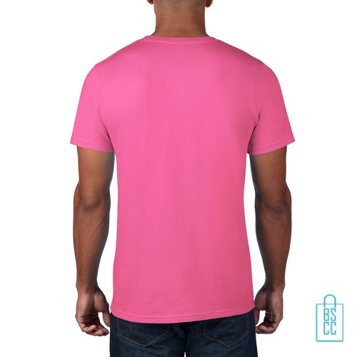 T-Shirt Heren Rond bedrukt roze
