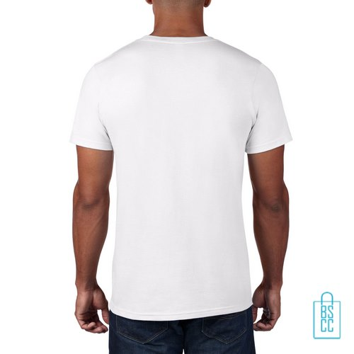 T-Shirt Heren Rond bedrukt wit