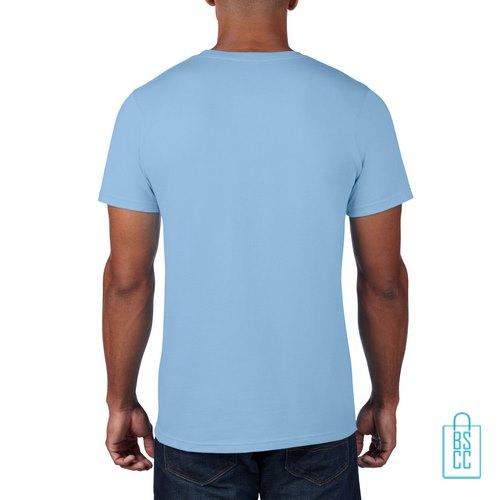 T-Shirt Heren Rond bedrukt zachtblauw